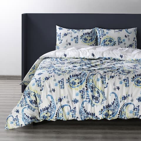 Exclusive Fabrics Delhi Blue Cotton Double Slub Linen Weave Reversible Duvet Set
