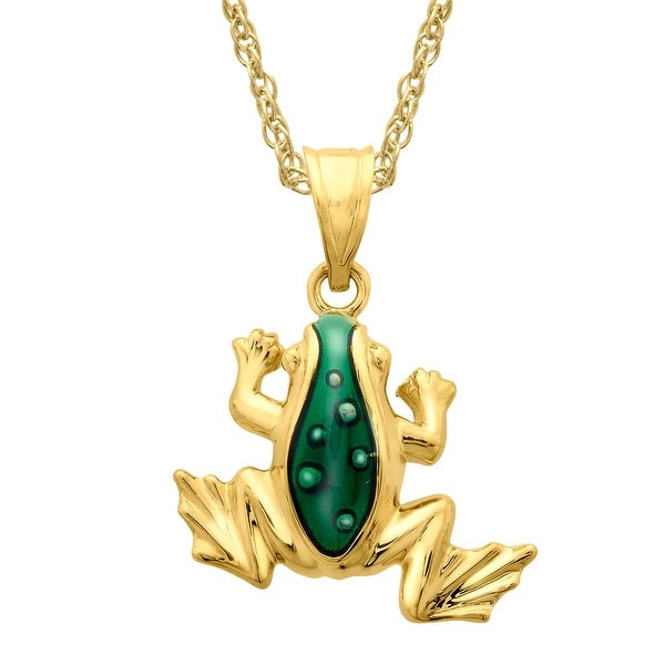 Frog Pendant with Green Enamel in 14K Gold