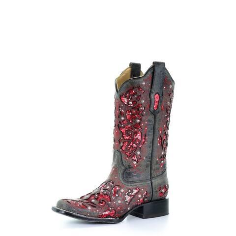 "Corral Western Boots Womens Glitter Inlay Roper Heel 12"" Black"