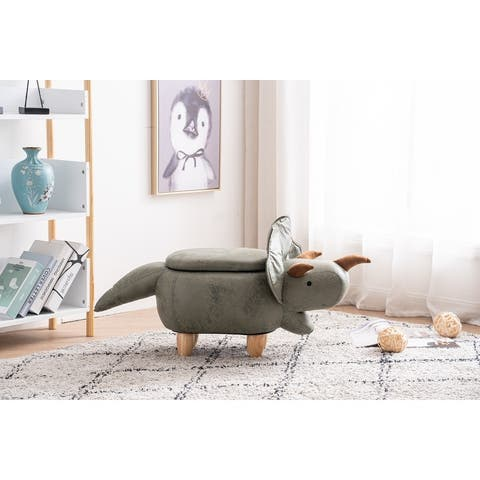 Dean the Dinosaur Storage Upholstered Kids Ottoman