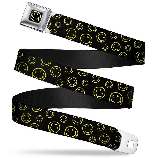 Nirvana Smiley Face Full Color Black Yellow Nirvana Smiley Face Scattered Seatbelt Belt