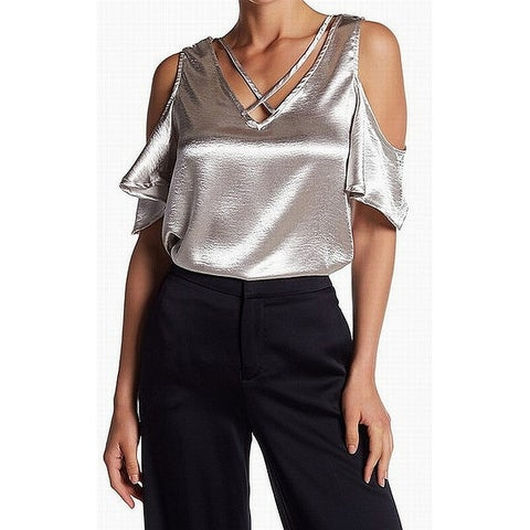 Elodie Womens Satin Crisscross Cold Shoulder Blouse