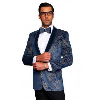 MZV-412 BLUE Men's slim fit Manzini Fancy 1 button Paisley design Velvet, sport coat with solid velvet collar