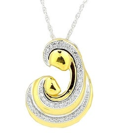 Mother and Child Diamond Pendant and Necklace Set Yellow Gold Tone Silver 18inch(i2/i3, I/j)
