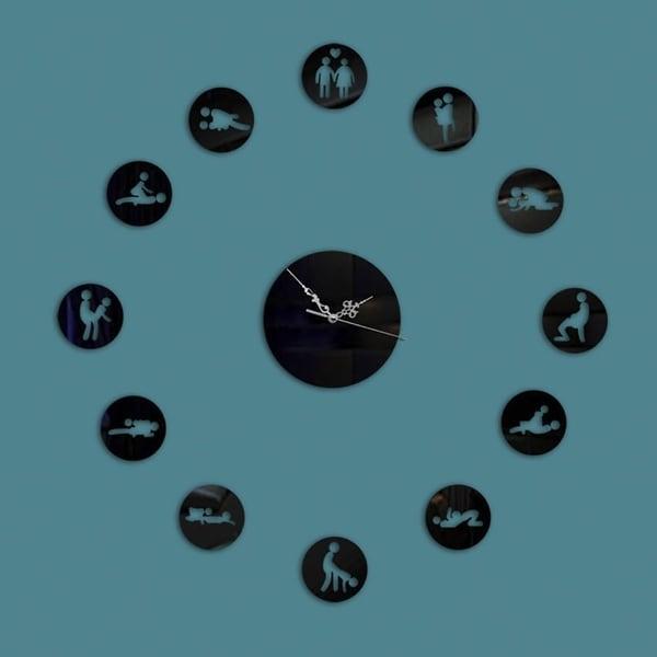 Wall Clock Teal Moon Black Swan