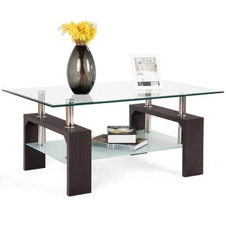 Costway Rectangular Tempered Glass Coffee Table w/Shelf Wood Living Room Furniture - as pic
