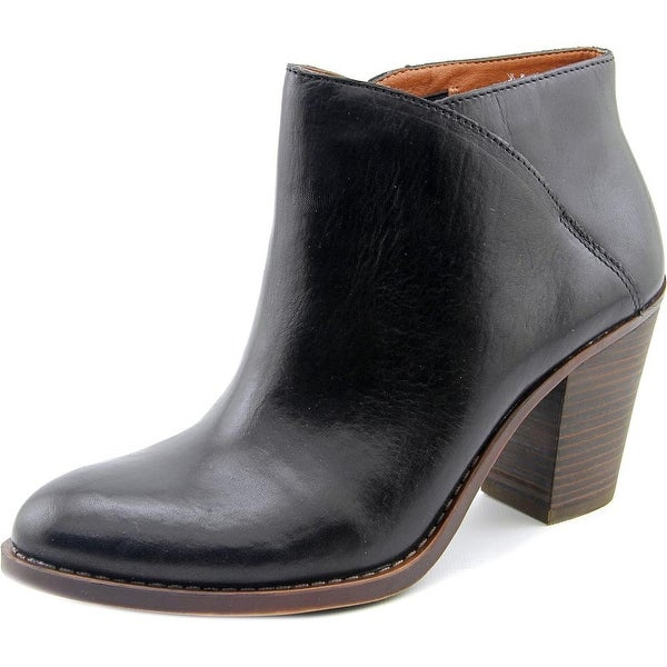 Lucky Brand Eesa Women Round Toe Leather Black Ankle Boot