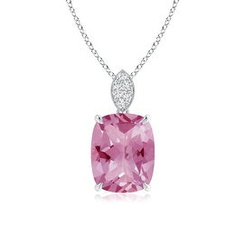 Cushion Cut Pink Tourmaline Solitaire Pendant with Diamond Bail