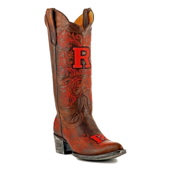 Gameday Boots Womens College Rutgers Scarlet Knight Brass