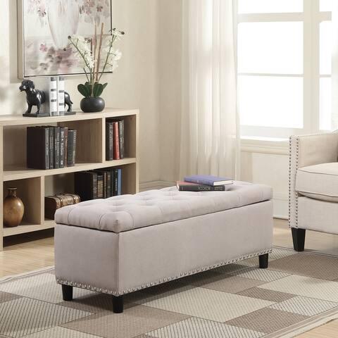 "Belleze 48"" Rectangular Storage Fabric Ottoman Bench Tufted, Natural - standard"