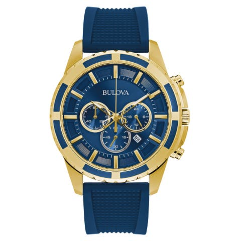 Bulova Men's 97B193 Goldtone Blue Chrono Dial Blue Silicone Strap Watch