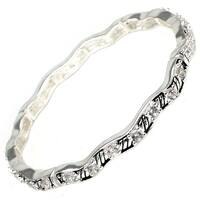 Antique Silver Plated CZ Wave Style Brass Bangle - Inside Circumference: 6""