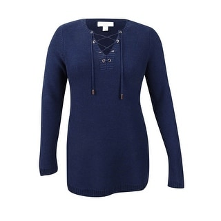 Charter Club Women's Plus Size Lace-Up Sweater - Intrepid Blue