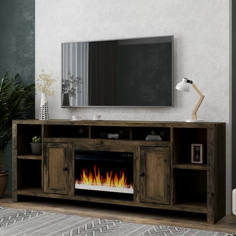 Carbon Loft Pendragon Barnwood Super 84-inch Fireplace