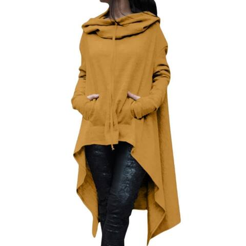 Long Cloak Cape Coat Pockets Outerwear Pullovers Hooded Tops Female Irregular