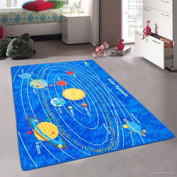 Allstar Kids Baby Room Area Rug Solar System Bright