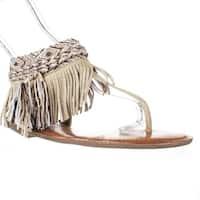 Zigi Soho Francesca Sparkle Fringe Bohemian Flat Sandals, Gold