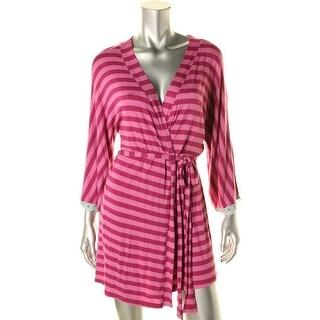 Honeydew Womens Lace Trim Striped Short Robe - M