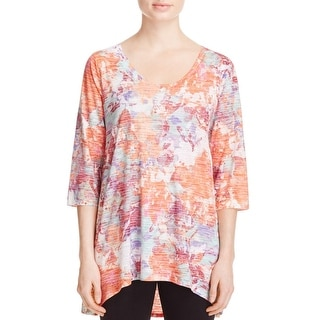 Nally & Millie Womens Pullover Top Printed 3/4 Sleeves