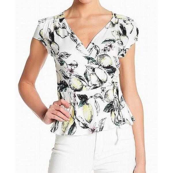 Love, Fire White Floral Print Faux Wrap Women's XL Surplice Blouse