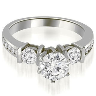 1 10 CT Bar Set 3 Stone Round Cut Diamond Engagement Ring In 14KT Gold White H I