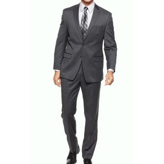 Calvin Klein NEW Gray Charcoal Mens Size 46 Two Button Wool Suit Set