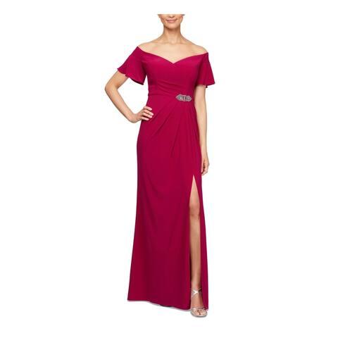 ALEX EVENINGS Pink Bell Sleeve Full-Length Sheath Dress Size 4