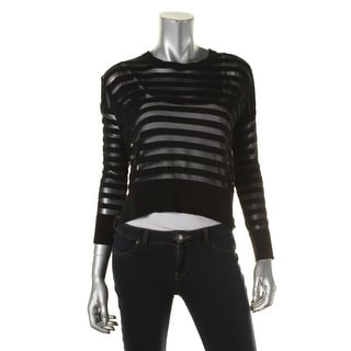 French Connection Womens Alpha Pullover Sweater Illusion Stripe Hi-Low - L