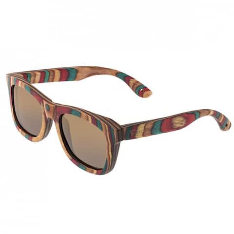 Spectrum Moriarty Unisex Wood Sunglasses - 100% UVA/UVB Prorection - Polarized Lens - Multi