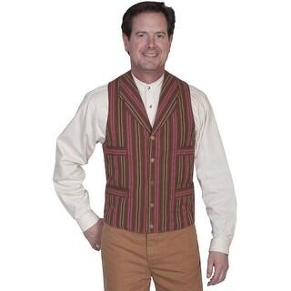 Scully Old West Vest Mens Formal Serape Stripe Cotton L Brown RW263