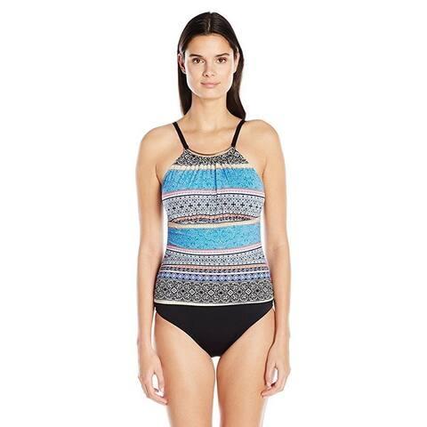 Jantzen Women's Batik Stripe High Neck Over the Shoulder One Piece sz: 16
