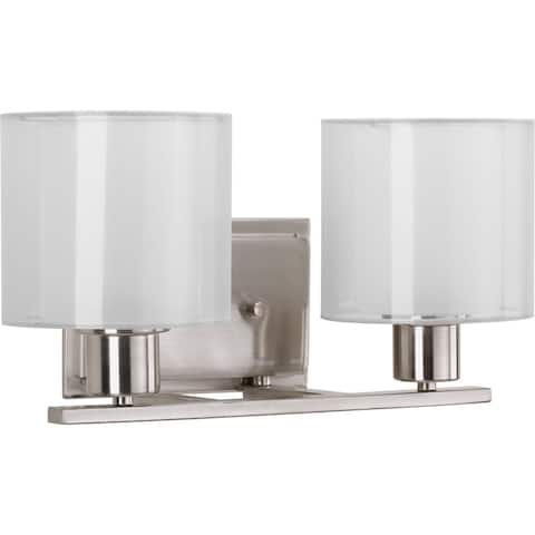 Invite Collection 2-Light Brushed Nickel White Shade New Traditional Bath Vanity Light