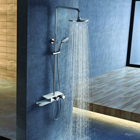 Costway Stainless Steel Shower Column Panel Rainfall Shower Wall Mount w/Hand Shower New