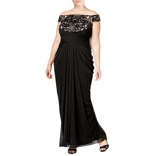 Adrianna Papell Plus Size Empire Waist Lace Trim Draped Evening Gown Dress - 14W