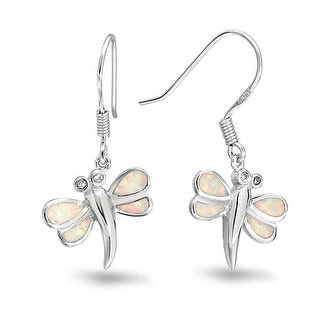 Bling Jewelry 925 Silver and Synthetic White Opal Dragonfly Dangle Earrings