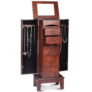 Link to Medium Brown Wood Jewlery Armoire Storage Chest Cabinet with Mirror Similar Items in Bedroom Furniture
