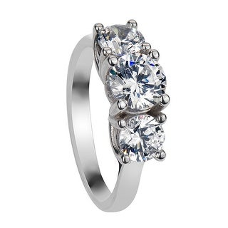 NICOLA Three Round Cut Settings Silver Engagement Ring with Polished Finish - MADE WITH SWAROVSKI® ELEMENTS