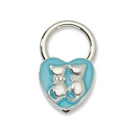 Silvertone Cats w/ Crystals Aqua Enamel Key Fob