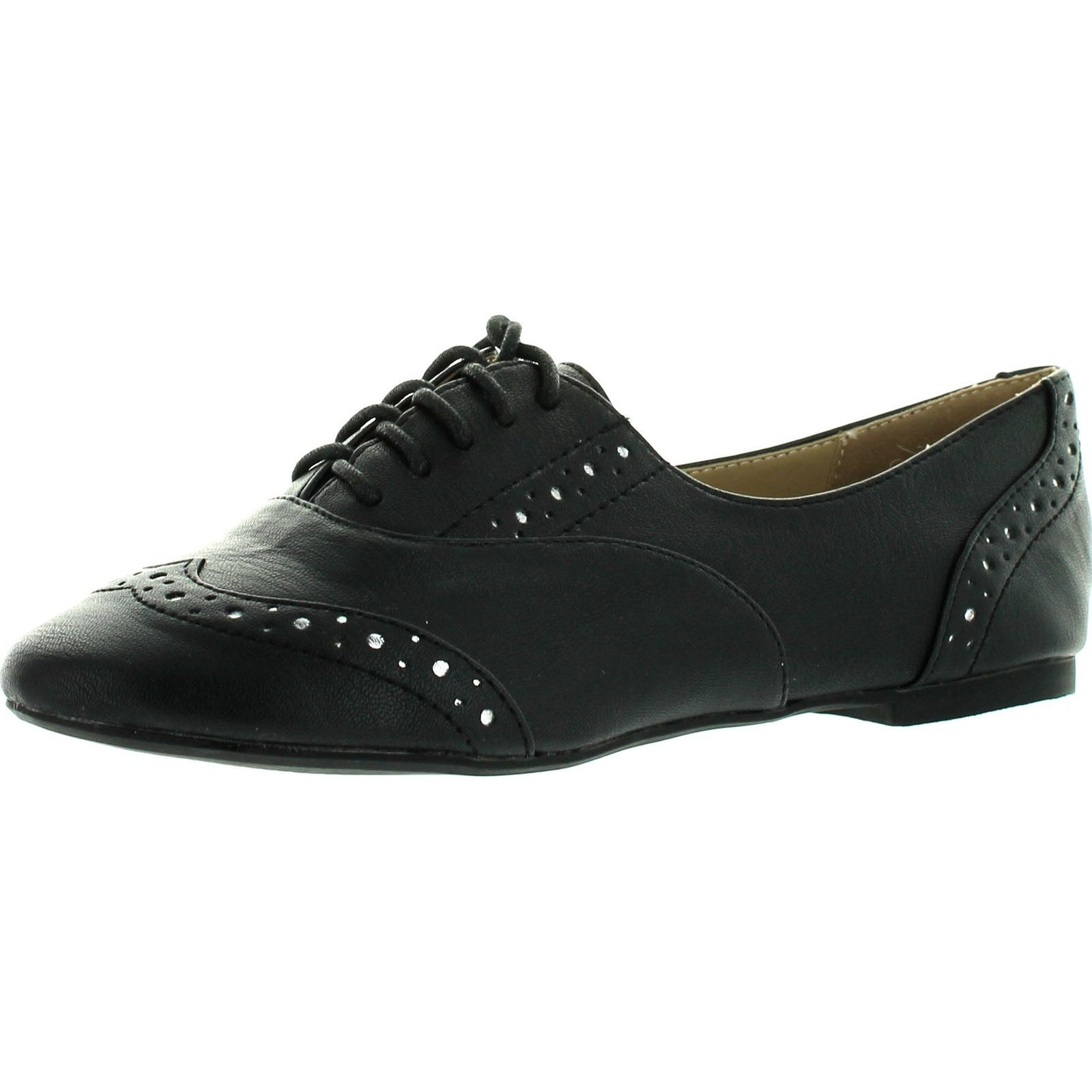save up to 80% lace up in low priced Restricted Womens Savoy Oxford Flats Shoes - Black