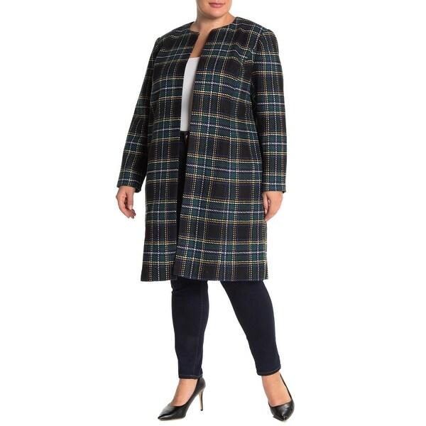 Calvin Klein Womens Jacket Green Multi Size 20W Plus Plaid-Print Long. Opens flyout.
