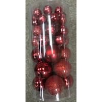 "40-Piece Red Collection Glass Ball Christmas Ornament Set 1"", 1.25"", 2.5"""