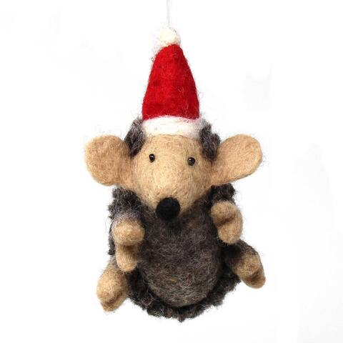 Handmade Felted Wool Christmas Ornament, Hedgehog