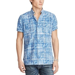 Ralph Lauren Regular Fit Blue Paisley and Plaid Short Sleeve Shirt Small S