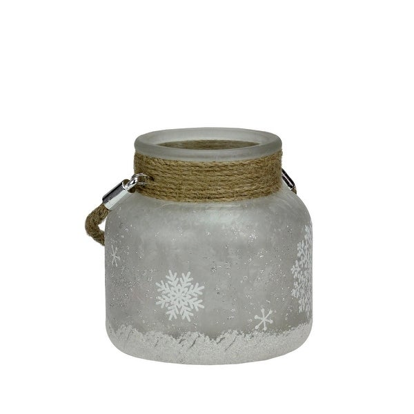 "4.75"" White Iced with Glittered Snowflakes Decorative Pillar Candle Holder Lantern with Handle"