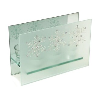 "8.25"" Frosted Glass Glittered Snowflake Design Mirrored Christmas Triple Votive Candle Holder"