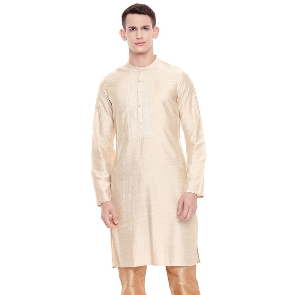 Shatranj Mens Indian Classic Collar Embroidered Placket Kurta Tunic