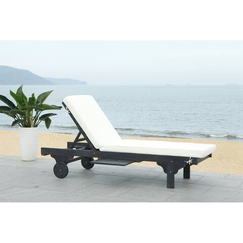 Safavieh Outdoor Living Newport Black/ White Cart-Wheel Adjustable Chaise Lounge Chair