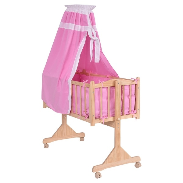 Shop Costway Wood Baby Cradle Rocking Crib Newborn Bassinet Bed