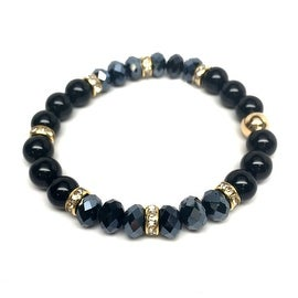 Black Onyx & Crystal 'Posh' stretch bracelet 14k Over Sterling Silver