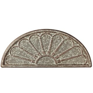 """41.87"""" Rustic Brown Distressed Finish Galvanized Embossed Half Circle Wall Decor"""